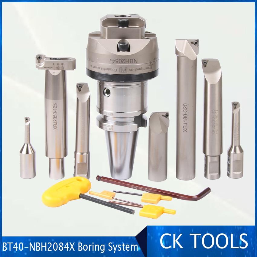 Working Range 8-320mm M16 BT40 NBH2084X  High Precision 0.005 NBH 2084 Boring Head With 7Ppcs XBJ Boring Bars CNC Boring Tools