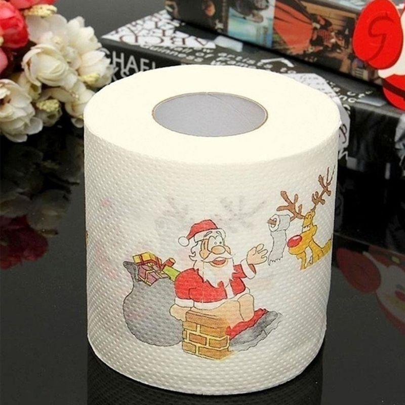 Купить с кэшбэком Christmas Pattern Printing Roll Toilet Paper Household  Tissue Bathroom Web Q0KD