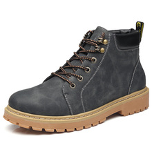 2019 autumn and winter England Korean men's Martin boots British retro high shoes women's shoes military boots tide men's shoes black high shoes male korean the tide fall back to the martin shoes new autumn winter british retro cowhide breathable sneaker