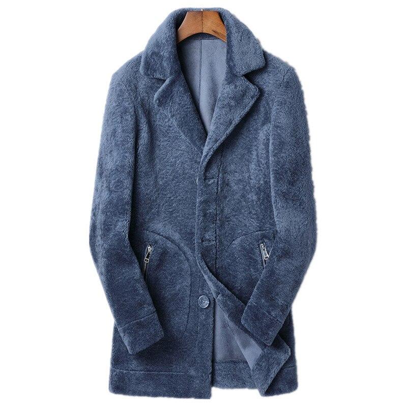 Real Fur Coat Autumn Winter Jacket Men Real Sheep Shearling Fur Long Coats Mens Suede Lining Wool Jackets JLK18YC1993 MY1816