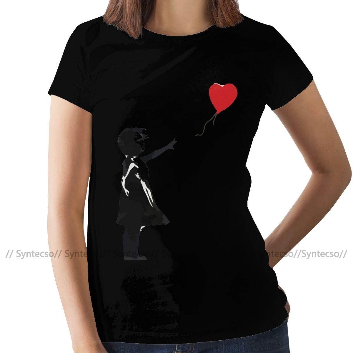 Heart Love T-Shirt Banksy Girl With Balloon T Shirt Trendy Purple Women tshirt Cotton Graphic Ladies Tee Shirt 3