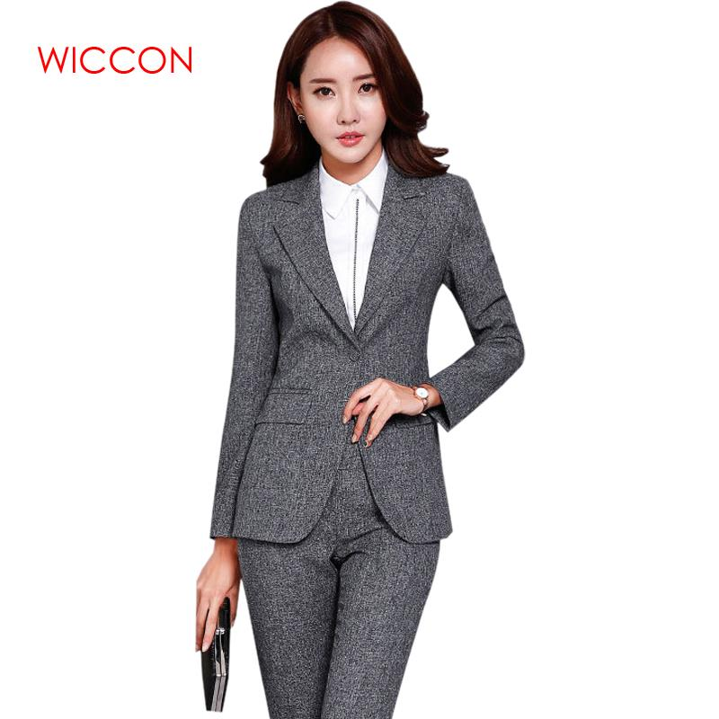 WICCON New Blazers Suit Solid Fashion Women Pants Suits Two Piece Sets Long Sleeve High Quality Business Jacket Pants Female