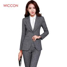 WICCON New Blazers Suit Solid Fashion Women Pants Suits Two