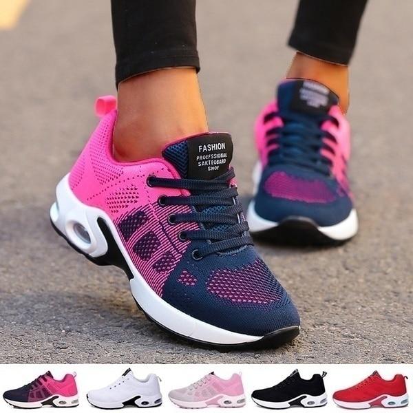 Zapatillas de deporte Zapatillas de correr para mujer y zapatos informales transpirables párr exteriores... sin mangas para caminar... Tenis femeninos