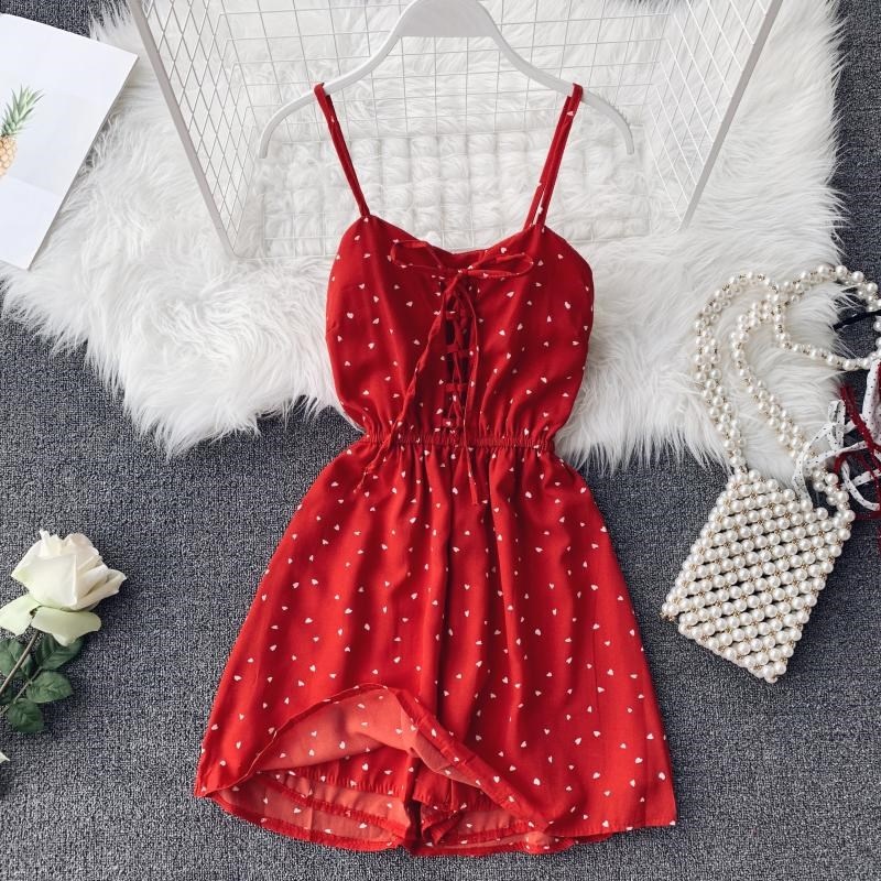 Women Dot Wide Leg Short Playsuits Bohemian Style Cute Bow Chiffon Jumpsuits Ladies Beach Wear Sexy Bodysuits