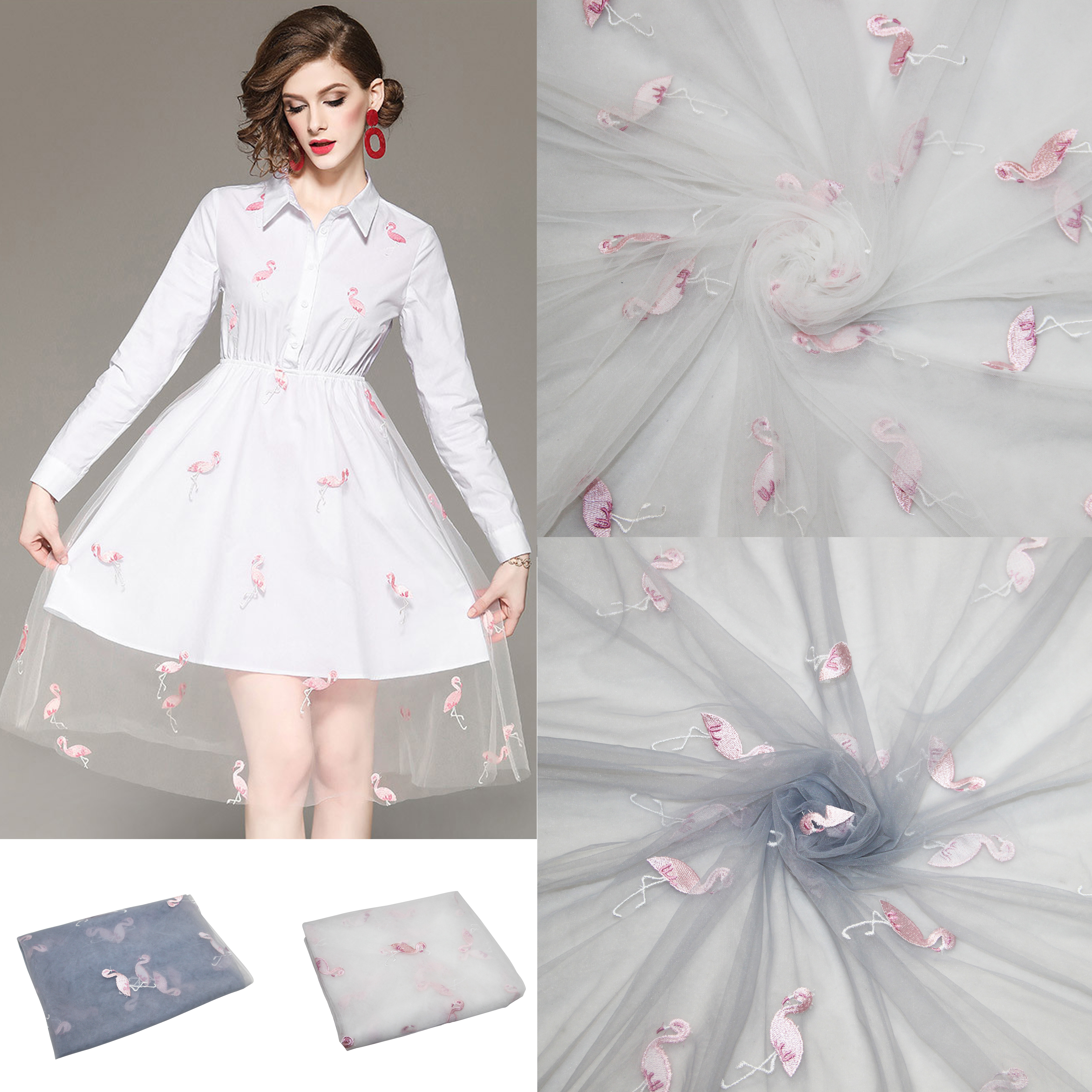 3meters Nylon Flamingos Embroidered Soft Mesh Tulle Fabric Environmental Protection Fabric Accessory For DIY Wedding Tutu Dress