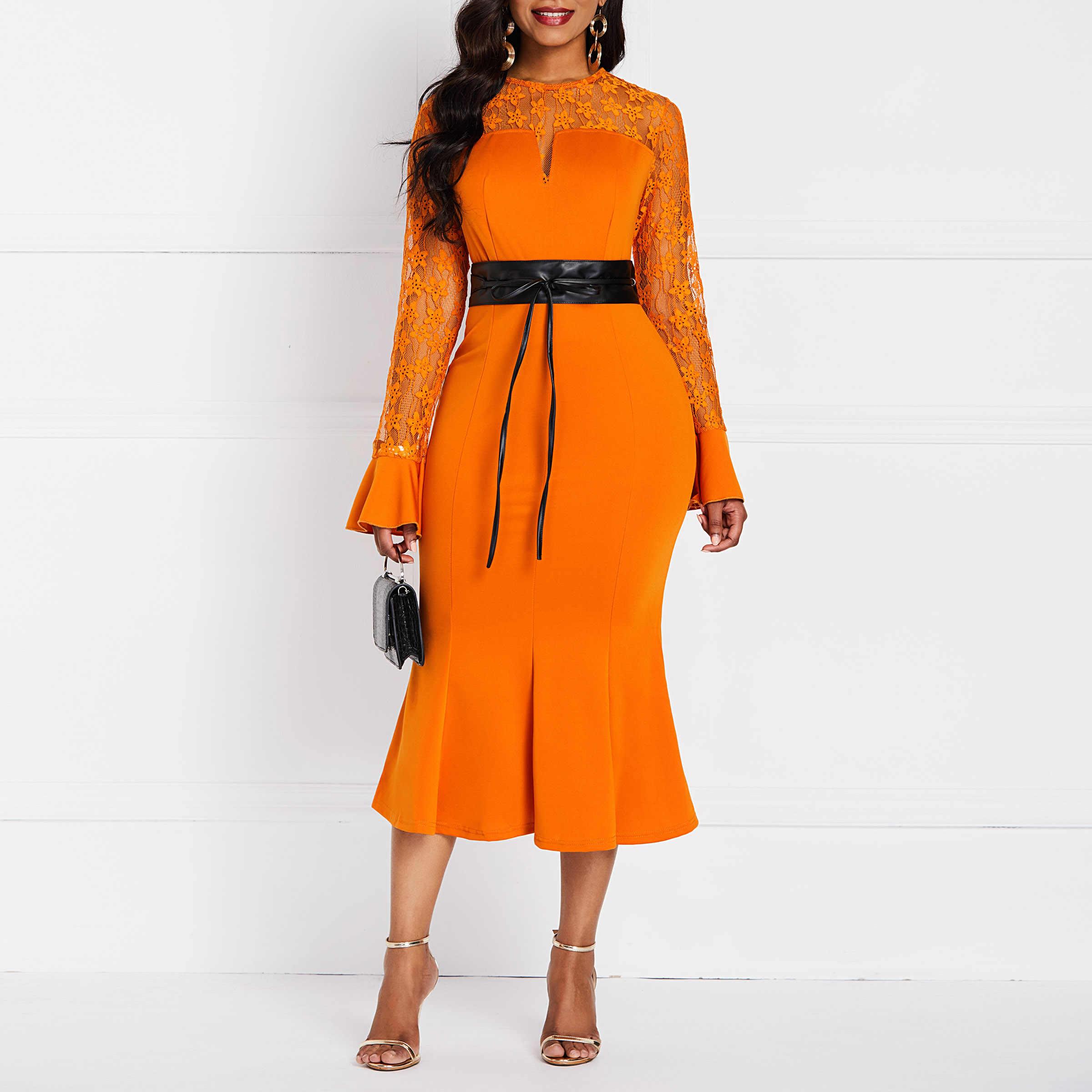 """Для женщин Bodycon платье элегантные офисные пикантные полусандалии """"Русалка"""" Винтаж тонкий оранжевый модная летняя с высокой талией женские Повседневная обувь миди платье"""