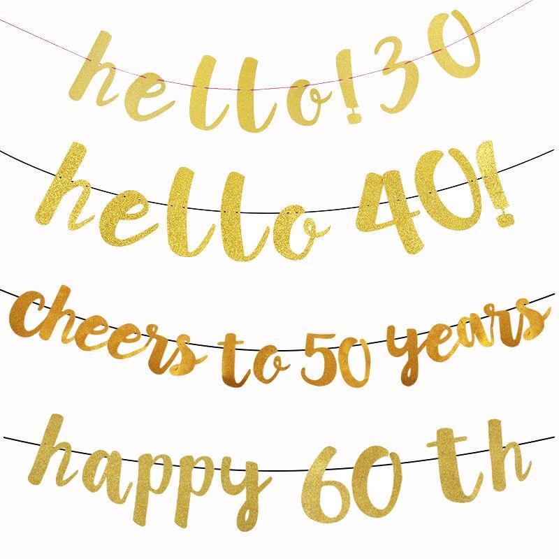 Olá 30 40 50 60 banner de papel para decorações de festa de feliz aniversário adulto 30th 40th 50th 60th festa suprimentos balão