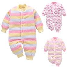 Одежда для новорожденных; одежда для маленьких девочек; флисовый плотный теплый комбинезон в полоску; комбинезон; пальто; Одежда для маленьких мальчиков и девочек