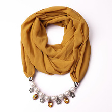 New pearl Chiffon Necklace pendant scarf alloy accessories necklace can be used in all seasons