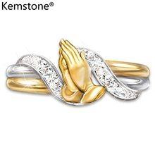 Kemstone модное молитвенное кольцо из циркония золотого цвета медное ювелирное изделие подарок для женщин