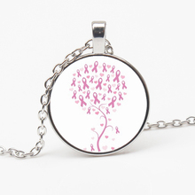 New Assorted Retro Glass Breast Cancer Awareness Ribbon Glass Bevel Pendant Silver Plated Art Necklace Pendant Choker Souvenir breast cancer ribbon with epoxy heart charm pendant necklace