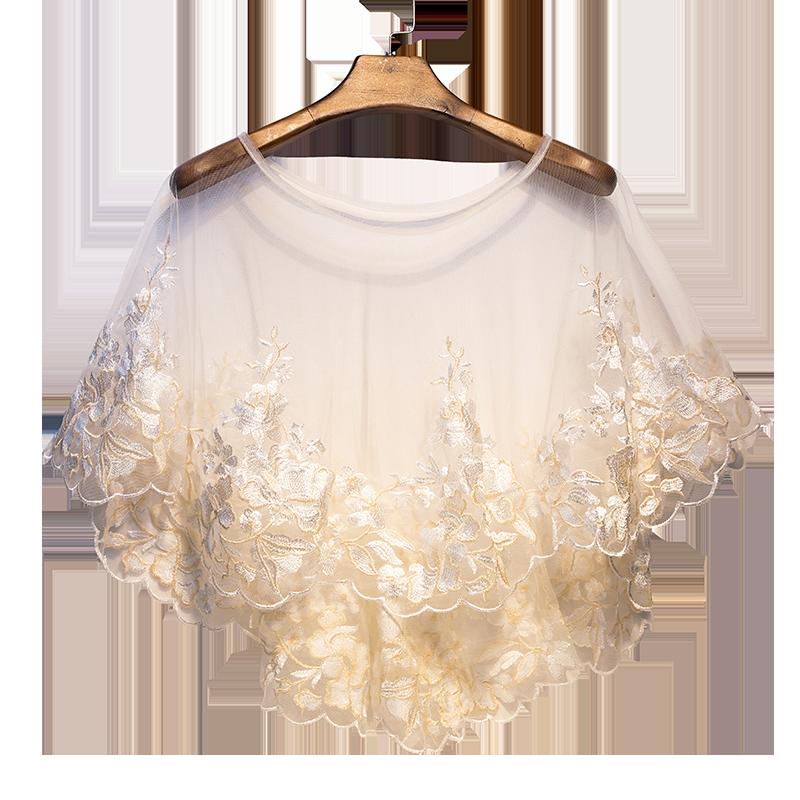 White Lace Shrug Flower Shawl Wrap Bolero Wedding Jacket for Bride Elegant  White Floral  Wrap Stole Hi Lo Bridal Cape Shawl and Bolero Shawl