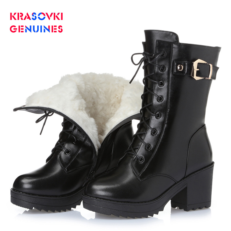 Buy Krasovki Genuines Wool Women Winter Boot Warm Genuine Leather Fur Warm Shoes Plush High Heel Boots Platform for Women Snow Boots