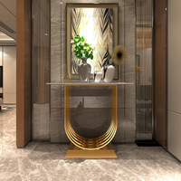 Italian Style Light Luxury hall Table Iron Living Room Decoration Console table Marble Cabinet