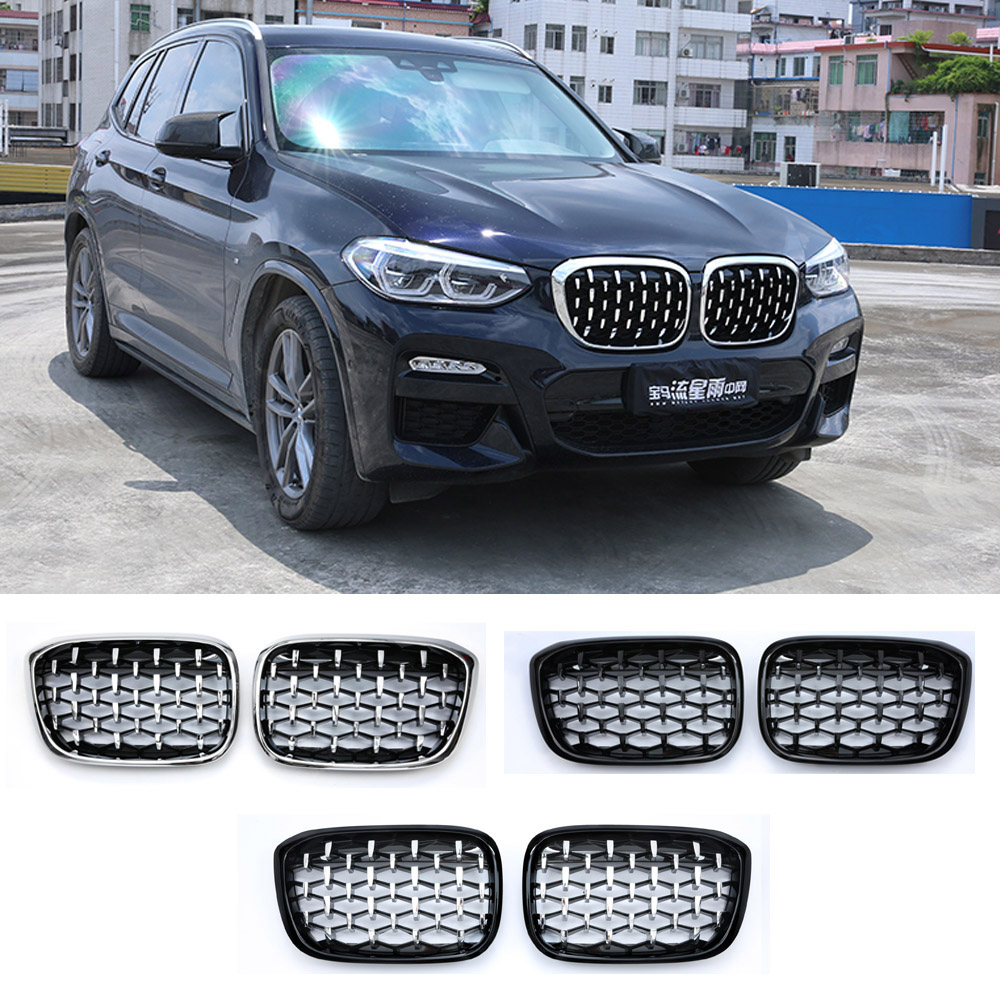 New Diamond Style <font><b>Grill</b></font> For <font><b>BMW</b></font> New <font><b>X3</b></font> X4 <font><b>G01</b></font> G02 G08 2018 Racing <font><b>Grills</b></font> Front Kidney Grille image