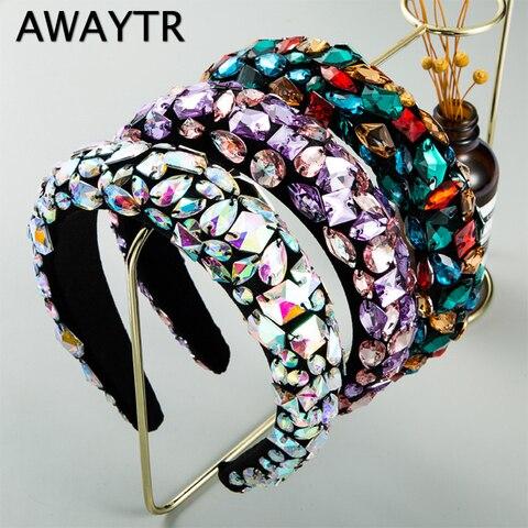Jóias de Cabelo Hairbands para Casamento Awaytr Lindo Barroco Acolchoado Cristal Coroa Headbands Exagerada Strass Tiara Feminino