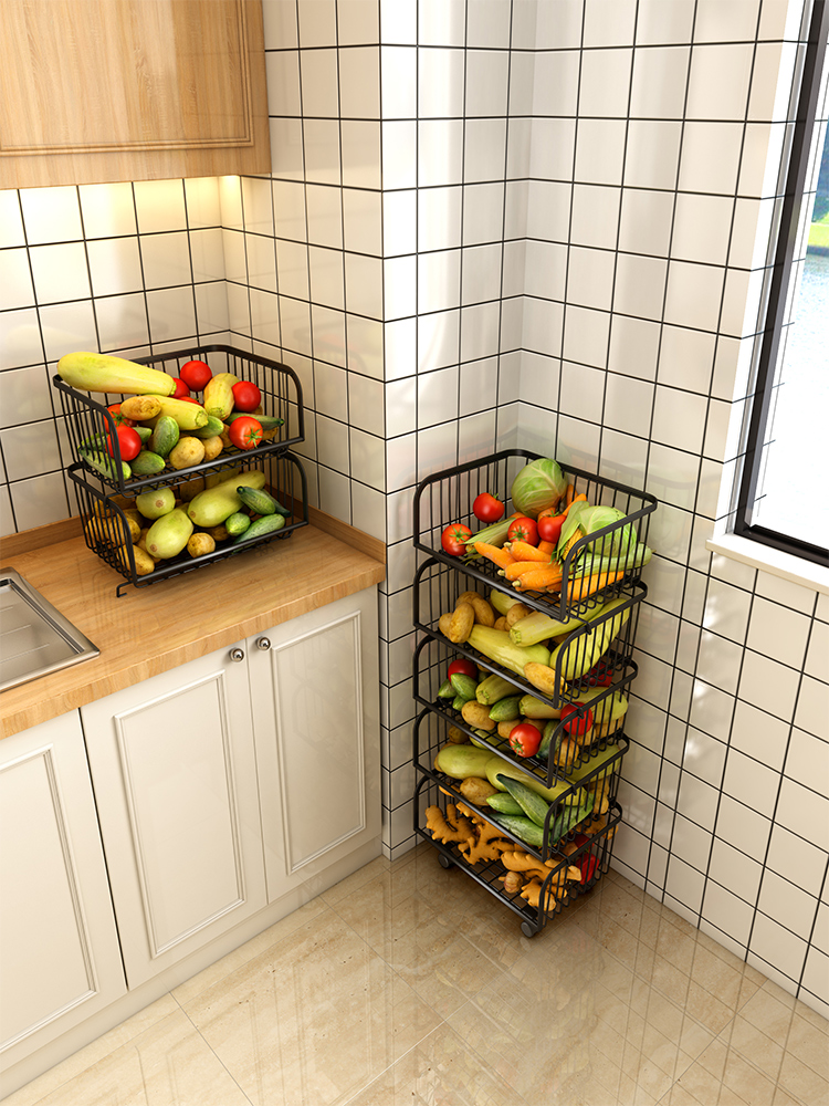 Black Kitchen Dish Basket Rack Floor Multi-layer Storage Rack Fruit And Vegetable Storage Basket Multi-function Household
