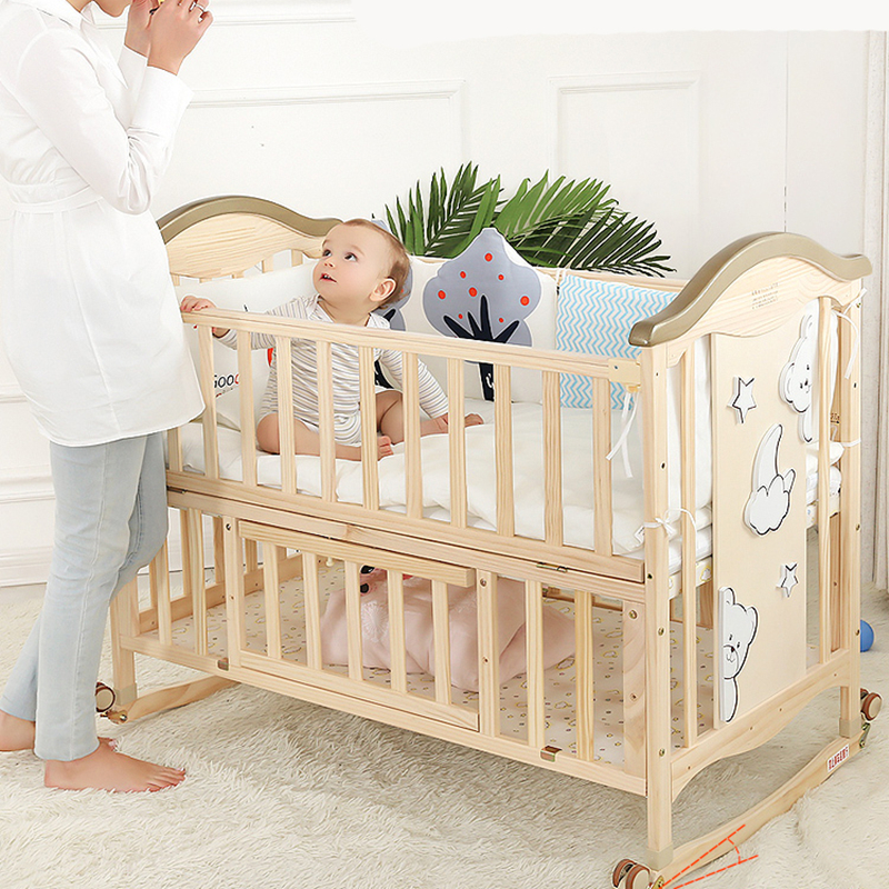 Beweihe Crib Solid Wood Paint-free Baby Bb Cradle Multifunctional Children's Newborn Movable Splicing Queen Bed