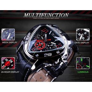 Image 3 - Jaragar sport racing design triângulo geométrico piloto couro genuíno masculino relógio mecânico topo da marca de luxo relógio de pulso automático