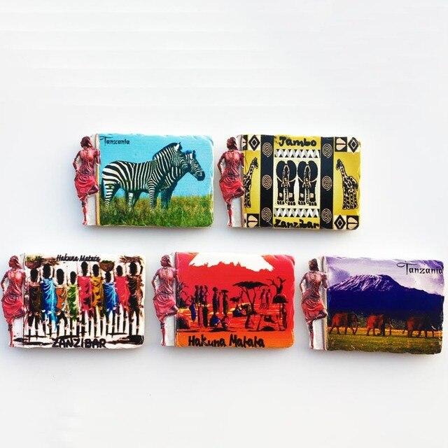 3d Resin Magnets Tanzania Africa Cultural Landscape Tourism Fridge Magnet Souvenir Home Decoration Accessories gift ideas 1