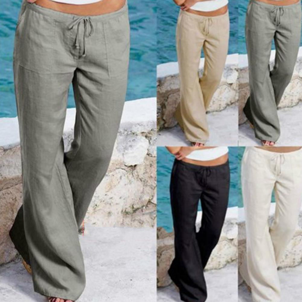 Women Loose Solid Color Pocket Drawstring Wide Leg Pants Bell-Bottoms Trousers