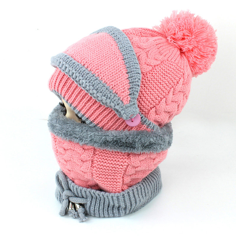Winter Kids Hat Scarf Set Knit Fleece Inside Beanie Ring Scarf 2pc Set For Boys Girls 2-8years
