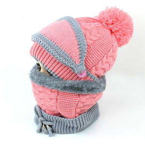 Kids Hat Beanie Knit Scarf-Set Winter Girls for Boys 2-8years Ring Fleece Inside