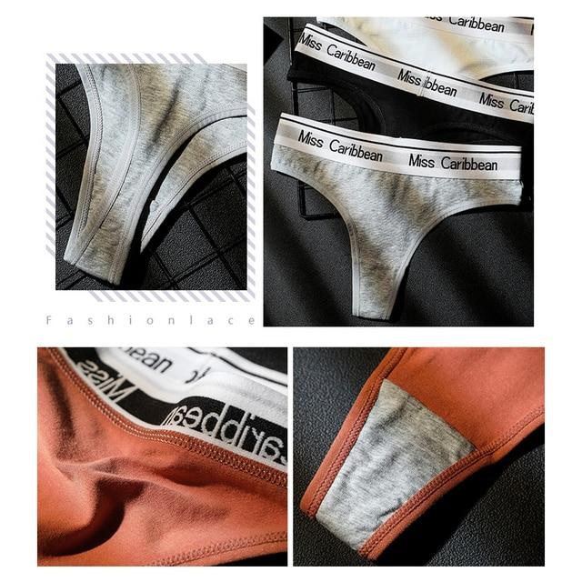 3Pcs Lot Womens Sexy Letter T Panties Set Underwear Female Seamless Cotton Yoga G string Thongs