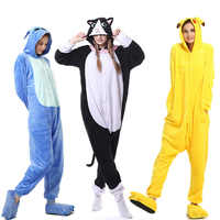 Кигуруми комбинезон Пижама для взрослых мужчин и женщин мультфильм соответствующие Пижамный Комбинезон взрослых пижамы фланелевый карнав...