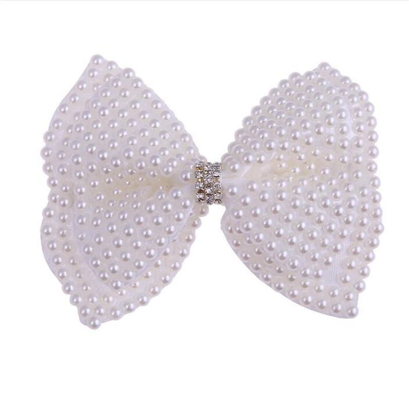 White Pearl Hair Bows With Hair Clips For Girls Kids Boutique Layers Bling Rhinestone Center Bows Hairpins Hair Accessories