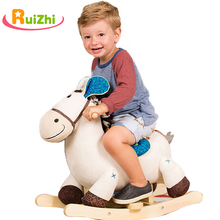 Toys Baby-Chair Wooden Rocking-Horse Plush Animal Kids Trojan Gifts Ruizhi RZ1124 Solid-Security