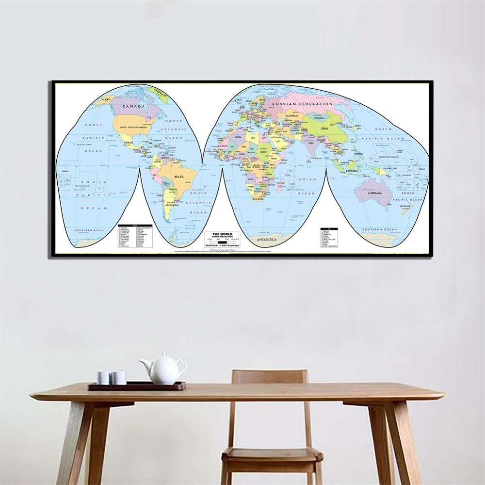 A2 Size 2001 Version The World Goode Projection HD Printed Spray Painting Canvas Unframed Wall Map For Home Decor