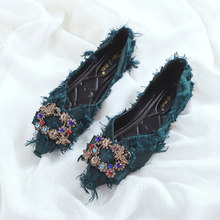 Womens Pointed Toe Rhinestones Crystal Bee Buckle Decor Furry Flats Loafer Slip On Casual Shoes Black Green New Arrival X02(China)
