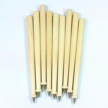 4pcs/lot Simple Blank round wooden ballpoint pen Environmental log wood roller ball