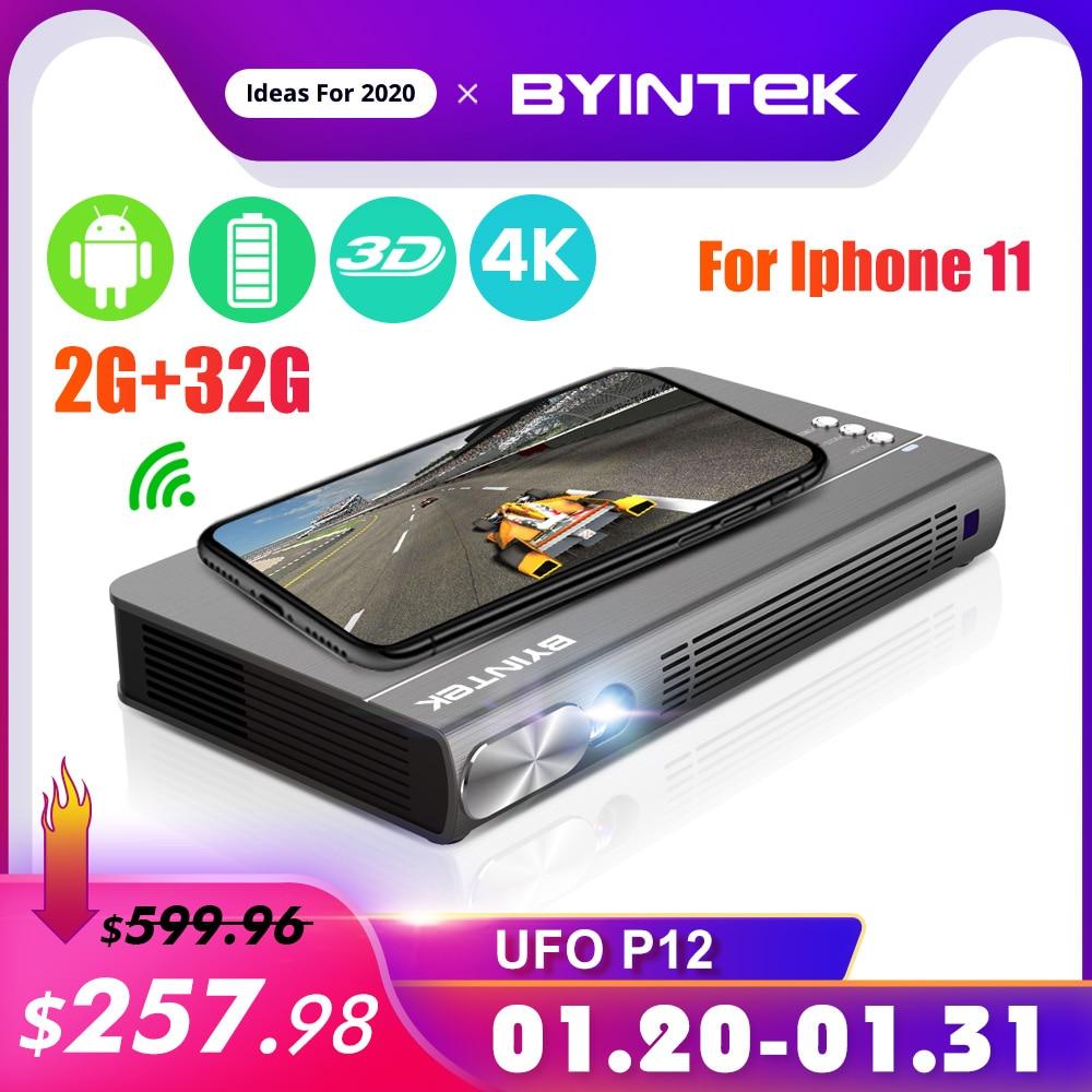 Byintek ufo p12 300 polegada 2019 mais novo inteligente 3d completo hd 4 k 5g wifi android pico portátil micro mini led dlp projetor para iphone 11
