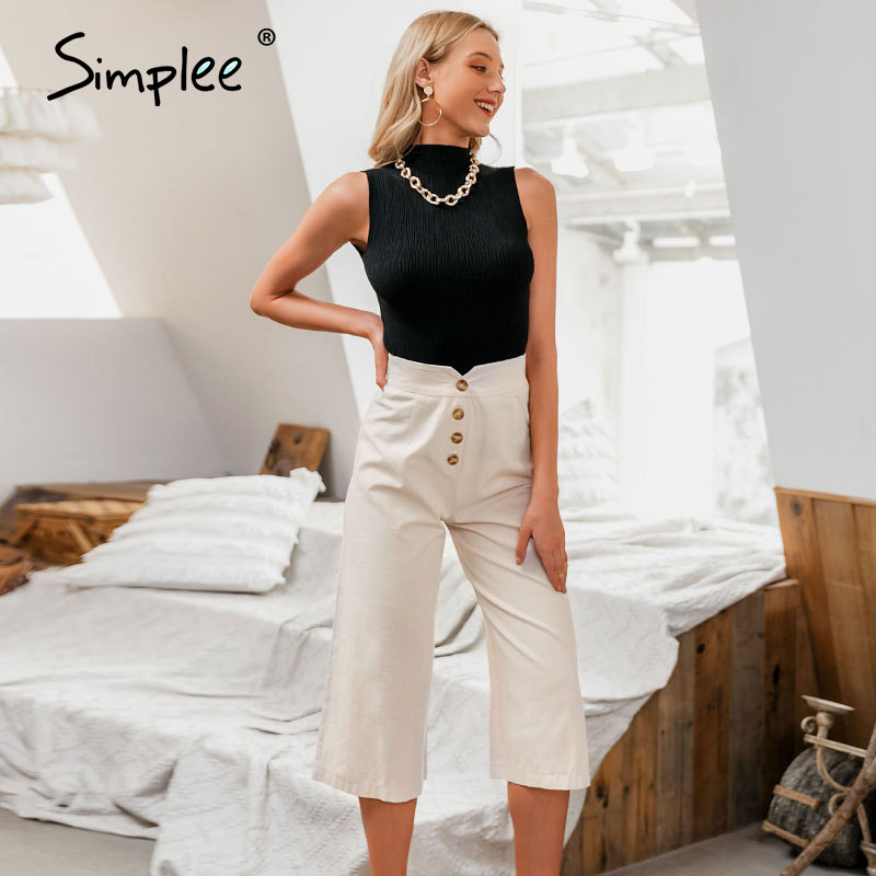 Simplee High Waist Casual Women Pants Summer Spring Solid Trousers Wide Leg Work Wear Office Lady Ruffles Vintage Female Pants