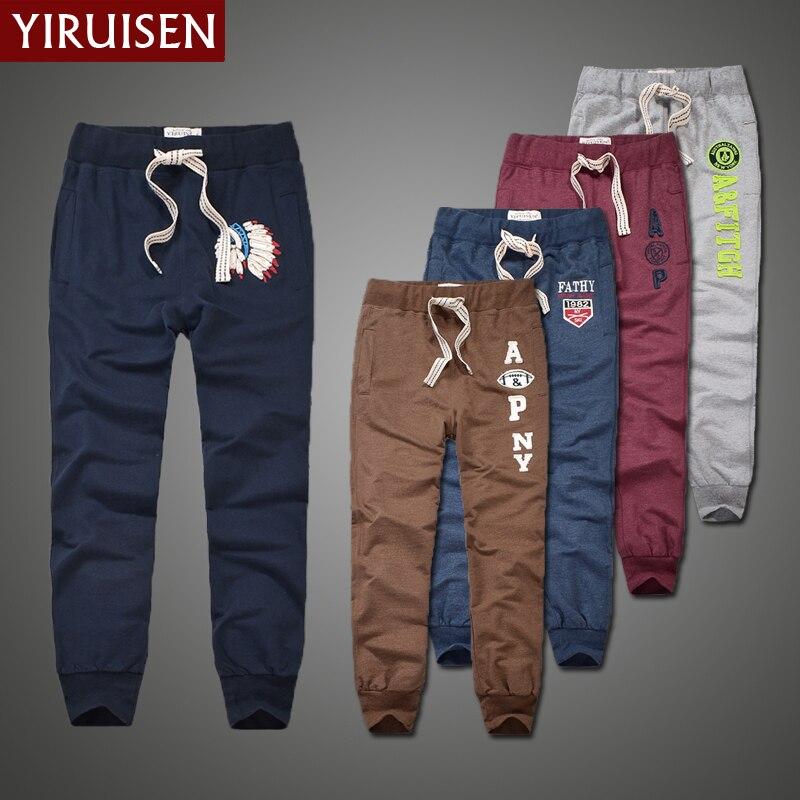 Wholesale YiRuiSen Brand 100% Cotton Lightweight Sweatpants For Men Patchwork Casual Long Sweat Pants Men Autumn Clothing