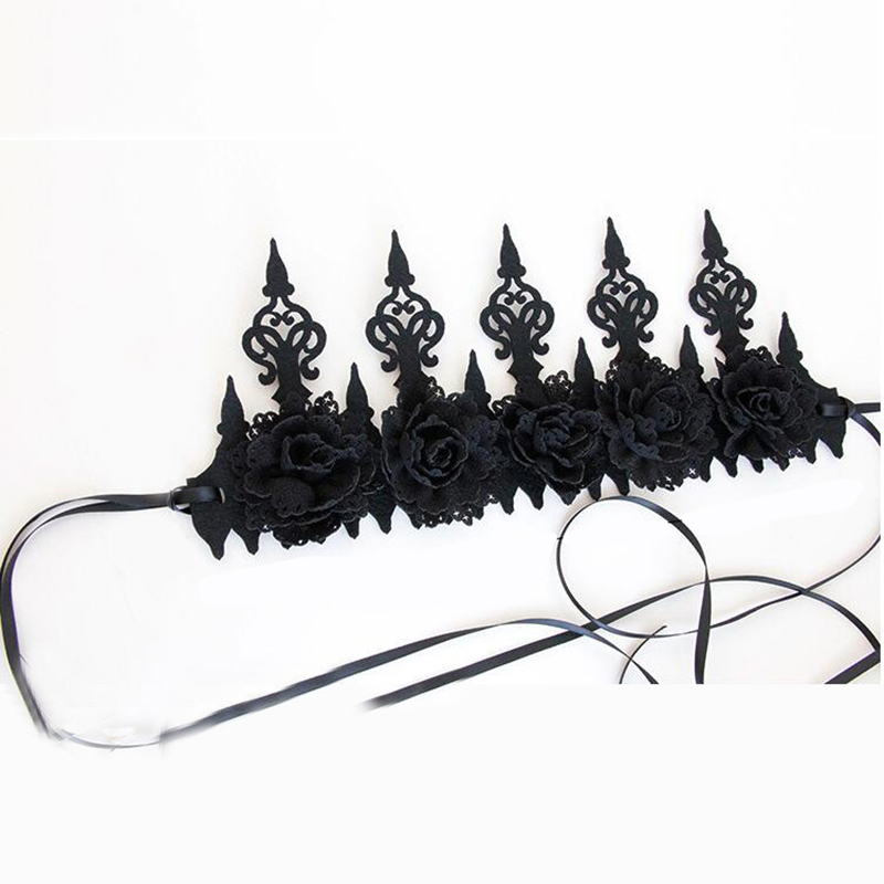 Dark Gothic Wind Black Crown Halloween COS Makeup Masquerade Show Photo Garland Headband in Women 39 s Hair Accessories from Apparel Accessories