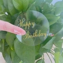 Étiquettes autocollantes de scellage joyeux anniversaire, étiquette ronde transparente et bronzante, papeterie créative pour cadeaux, DIY bricolage, Dia 6cm, 60 pièces