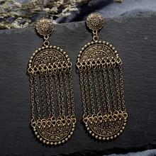 Fashion Classical Metal Tassel Dangle Earrings Oversize Pendientes Oval For Women Drop Earring Ethnic Indian Jewelry