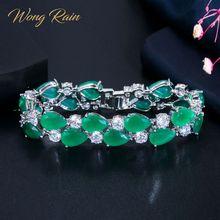 Wong Rain Bohemian Boho 100% 925 Sterling Silver Emerald Ruby Gemstone Birthstone Bangle Women Bracelet Fine Jewelry Wholesale