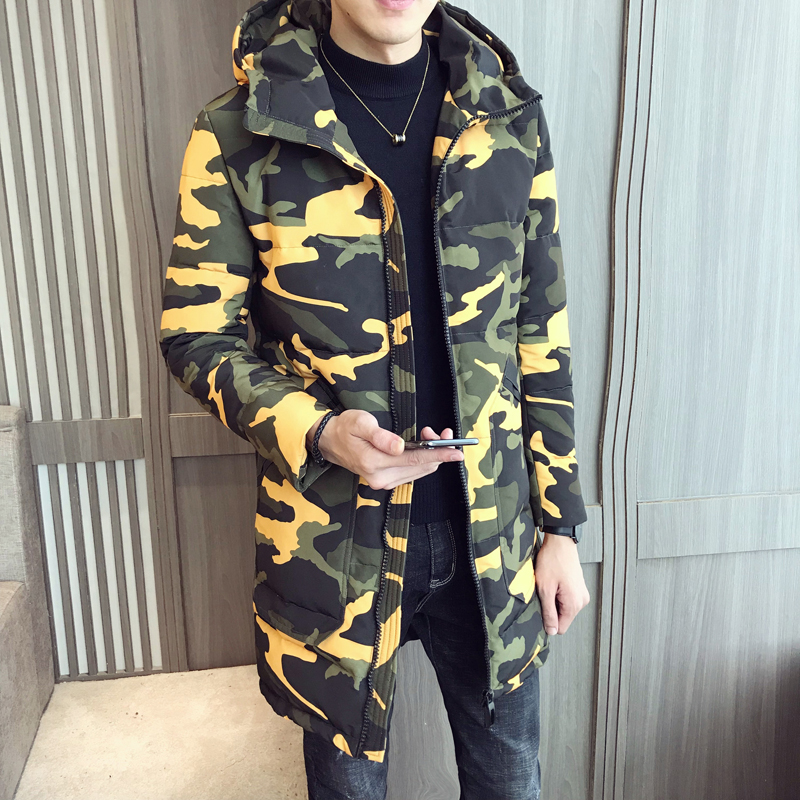 2019 winter new mens long camouflage cotton hooded warm windproof fashion casual printed