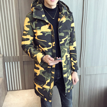2019 winter new men's long camouflage cotton men's hooded warm windproof cotton men's fashion casual camouflage printed cotton цена 2017