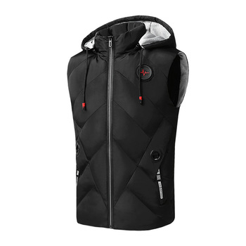 #3639 Winter Vest Men Warm Sleeveless Jacket With Hood Hat Detachable Waistcoat Down Coat Casual Mens Vests Bodywarmer