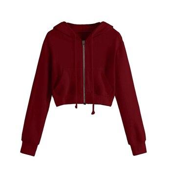 Spring 2020 Casual Hoodie Zipper Long Coat Sweatshirt Women Zip Up Loose Oversized Jacket Coat Women Hoodies Outwear Tops 7