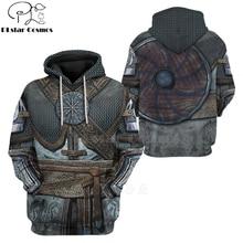 PLstar Cosmos Viking Warrior Tattoo Pullover Tracksuit casual 3D Print Zipper/Hoodie/Sweatshirt/Jacket/Men's Women style-76