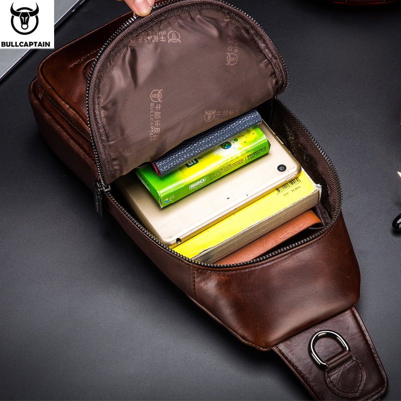 BULLCAPTAIN Fashion Genuine Leather Crossbody Bags men Brand Small Male Shoulder Bag casual men's music chest bags messenger bag