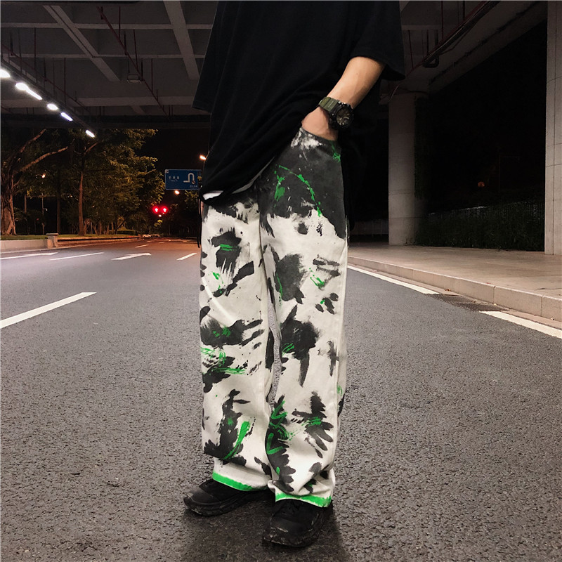 Splash Ink Graffiti Jeans For Men High Street Hip Hop Casual Loose Straight Denim Trousers Male Vintage Wide Leg Jeans Pants