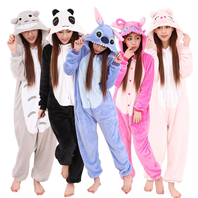 Winter Flannel Kigurumi Women Men Onesies Cute Cartoon Animal Stitch Unicornio Pajamas Sets Unisex Pyjama Pijama Sleepwear